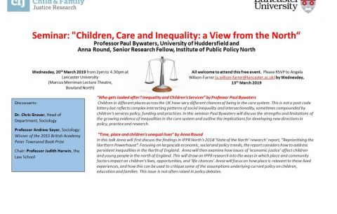 """Places still available: Seminar: """"Children, Care and Inequality: a View from the North"""""""