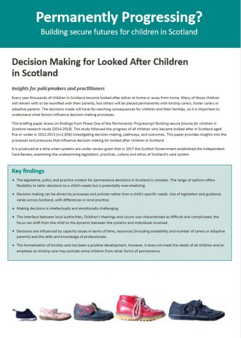 Policy Briefing: Decision making for looked after children in Scotland