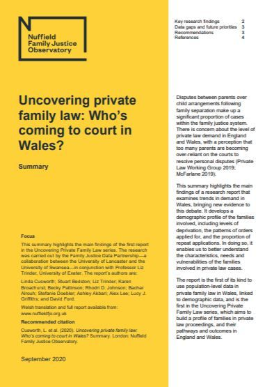 Uncovering private family law: Who's coming to court in Wales (summary)