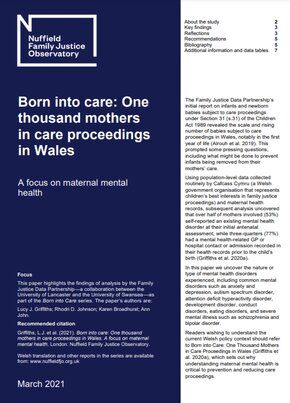 Born into care: One  thousand mothers in care proceedings in Wales: A focus on maternal mental health