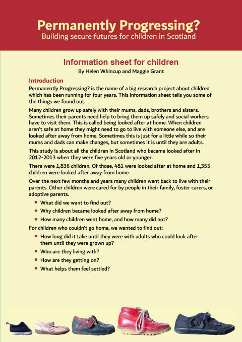 Information sheet for children