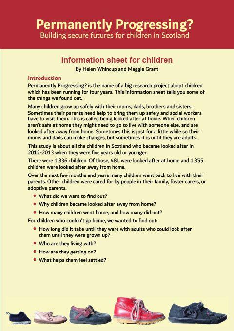 Information sheet for children