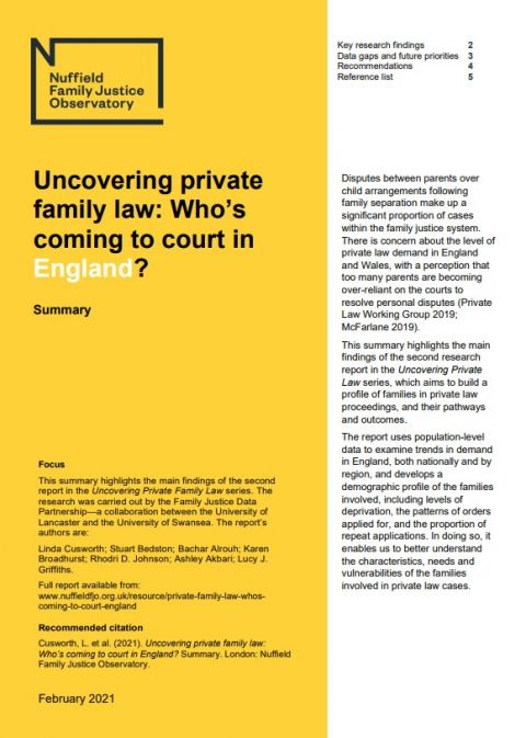 Uncovering private family law: Who's coming to court in England? Summary
