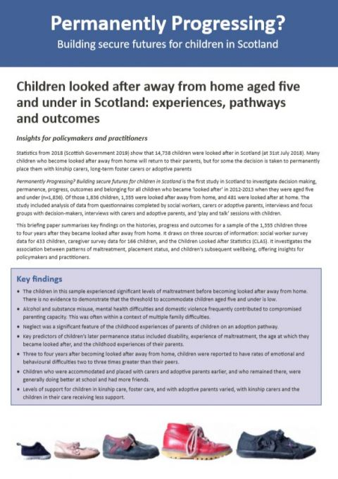 Policy Briefing: Children looked after away from home aged five and under in Scotland: experiences, pathways and outcomes