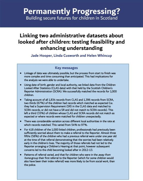 Linking two administrative datasets about looked after children: testing feasibility and enhancing understanding - summary report