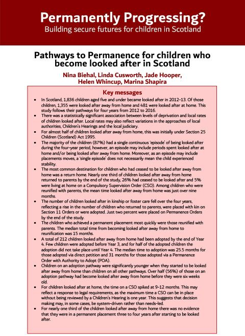 Pathways to Permanence for children who become looked after in Scotland - summary report
