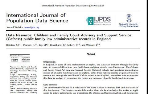 New article: Data Resource - Children and Family Court Advisory and Support Service (Cafcass) public family law administrative records in England
