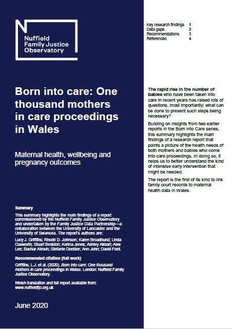 Born into care: One thousand mothers in care proceedings in Wales - Maternal health, wellbeing, pregnancy and birth outcomes (briefing paper)