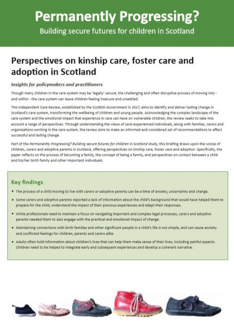Policy Briefing: Perspectives on kinship care, foster care and adoption in Scotland