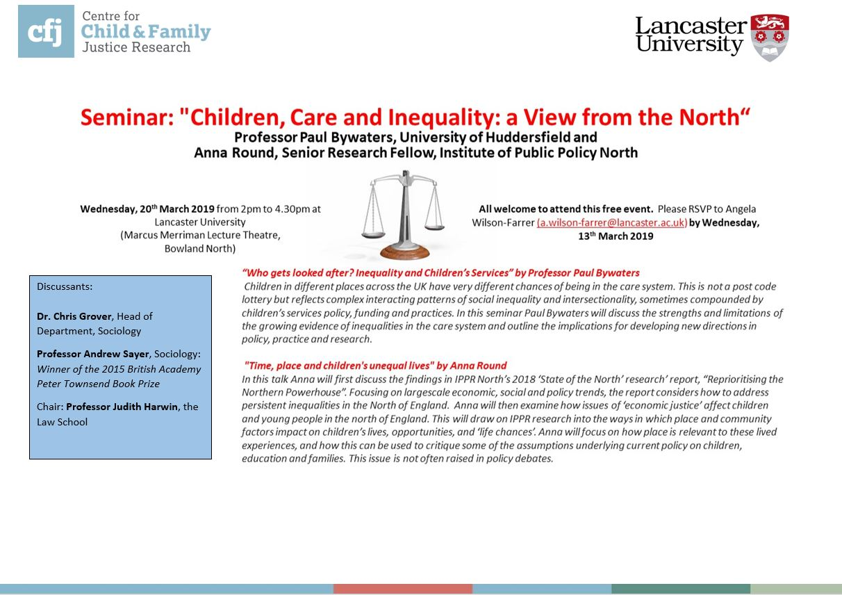 Children, Care and Inequality: a View from the North: register to attend this seminar on 20th March now