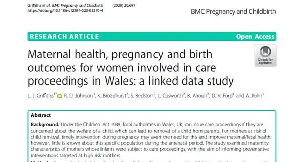 New article: Maternal health, pregnancy and birth outcomes for women involved in care proceedings in Wales: a linked data study