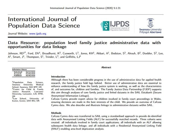 New publication: Population level family justice administrative data with opportunities for data linkage